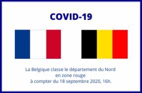 Covid-19 - La Belgique classe le département du Nord en zone rouge à compter du vendredi 18 septembre 2020 à 16h00